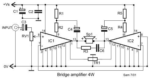 4W Bridge Amplifier Circuit