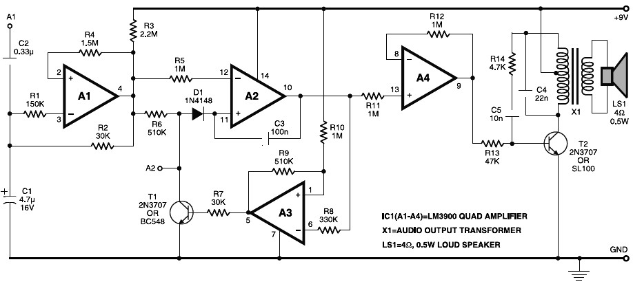 transistored 10w audio amplifier schematic design