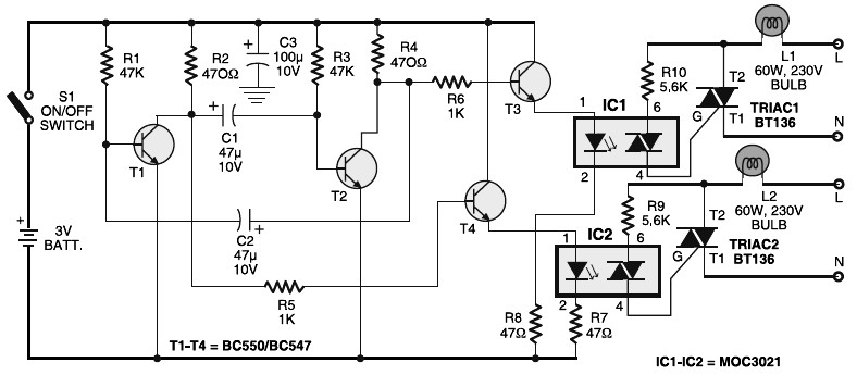 Portable 230V Lamp Flasher - Schematic Design