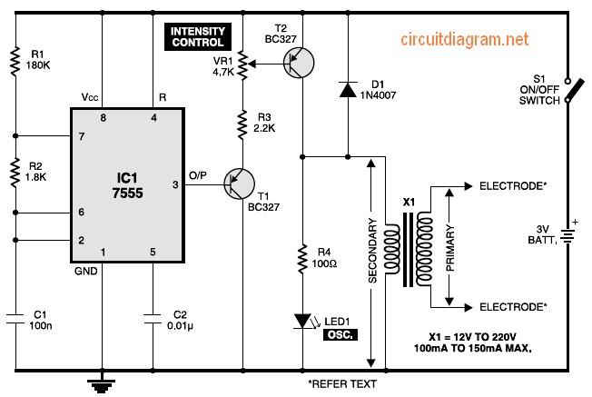 electronic muscle stimulator timer circuit