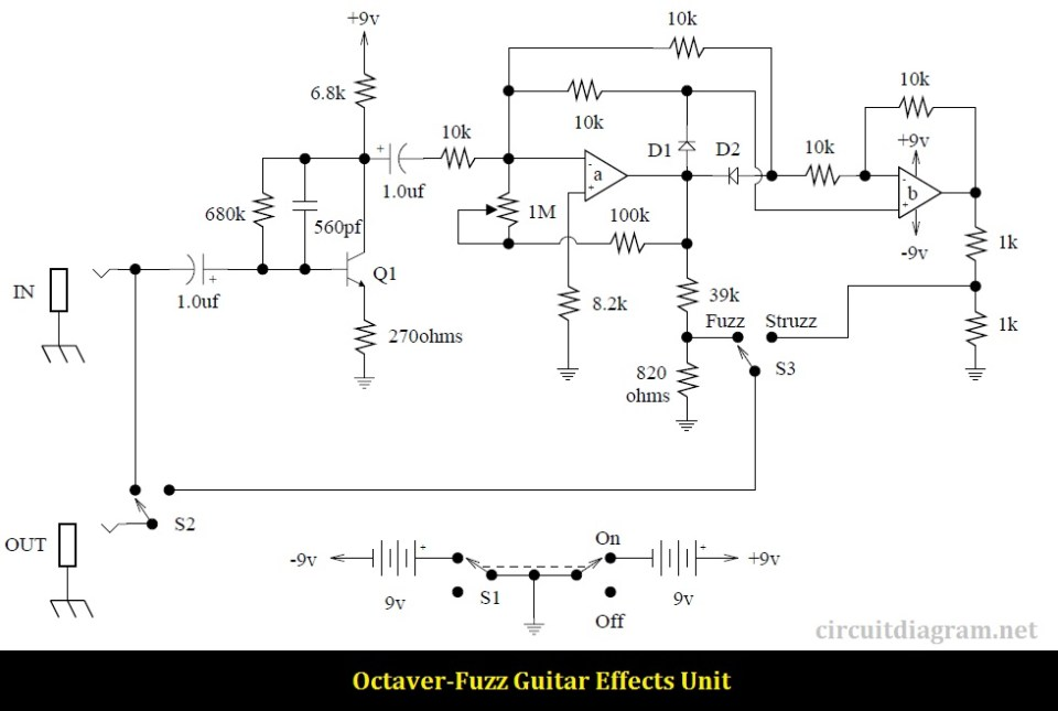 Octaver-Fuzz Guitar Effects Circuit Electronic