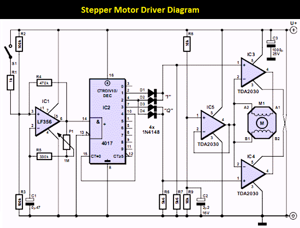 Stepper Motor Controller Using Tda2030 Schematic Design