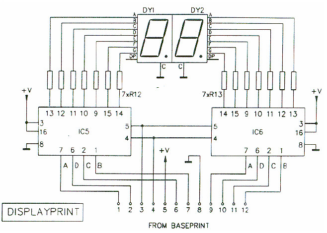 Digital RPM Meter Display Schematic