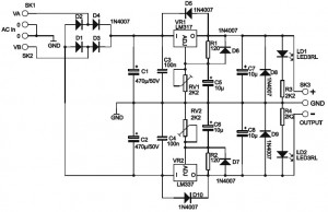 Adjustable Symmetric Power Supply Schematic Diagram