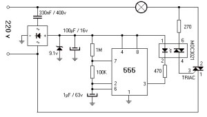 220V 800W Lamp Flasher Circuit Diagram