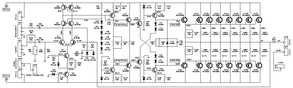 2000W Class AB Power Amplifier  Schematic Design