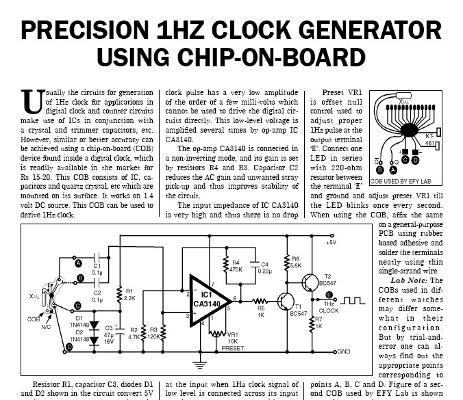 1hz clock generator project