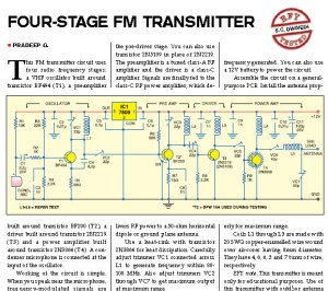 Four Stage FM Transmitter Circuit Project