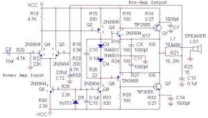 70W OCL Power Amplifier Circuit