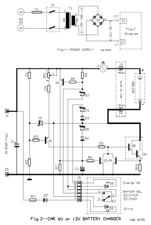 6V and 12V Car Battery Charger Circuit Design Diagram  Schematic Design