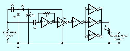 Sine Wave to Square Wave Converter Circuit Design