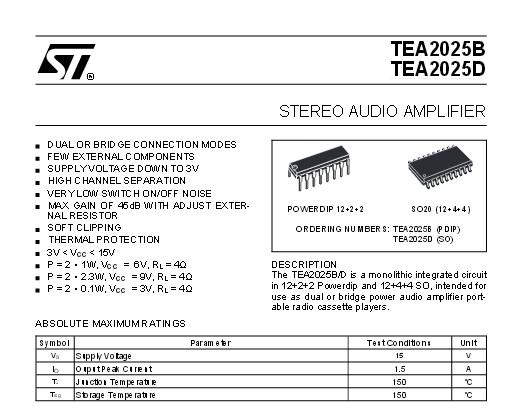 TEA2025 PDF Datasheet