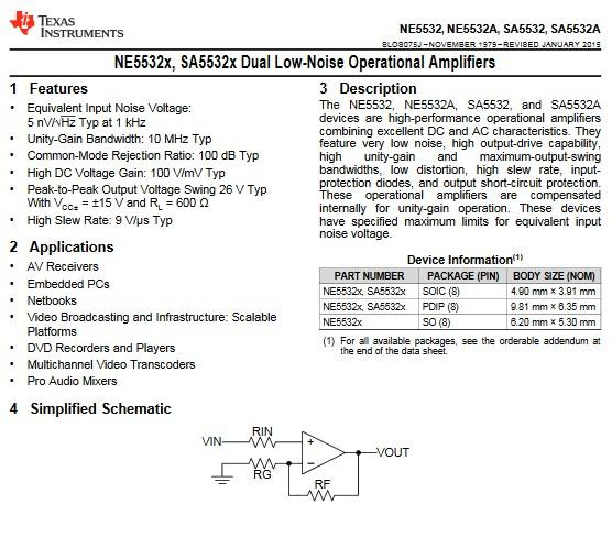 NE5532 Datasheet