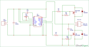 100 watt 12v DC to 220v AC Inverter Circuit Diagram