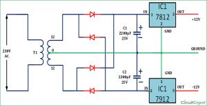 12V and 12V Dual Power Supply Circuit Diagram