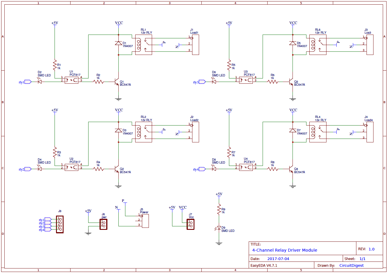 4 channel wiring diagram hard start capacitor relay driver circuit on pcb