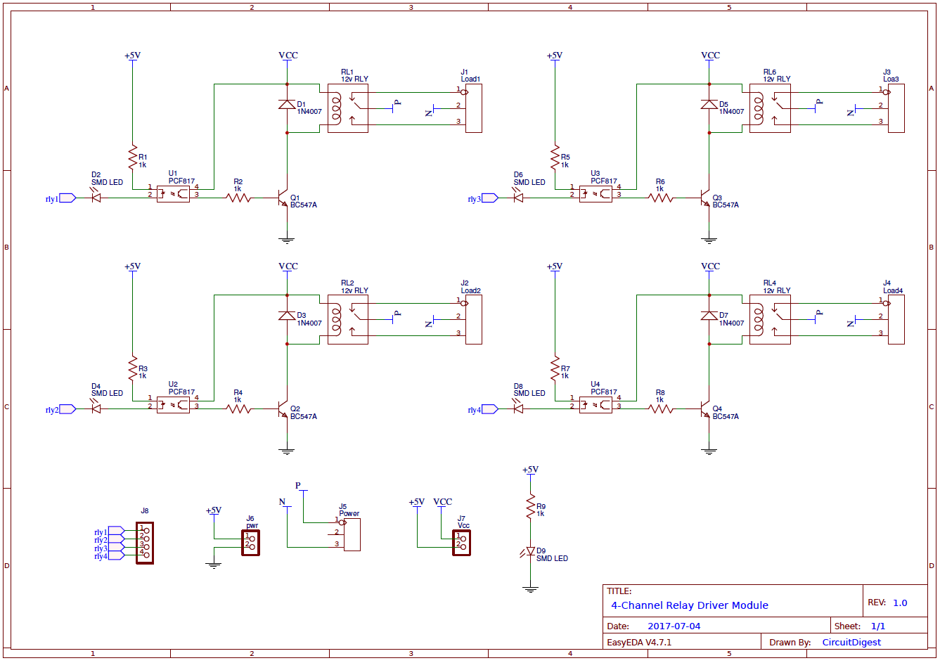 hight resolution of 4 channel relay driver circuit diagram on pcb relay schematic pcb