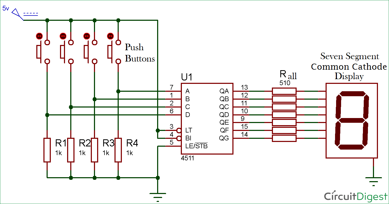 hight resolution of driving a 7 segment display using a bcd to 7 segment driver ic cd4511 7 segment display schematic diagram 7 segment circuit diagram