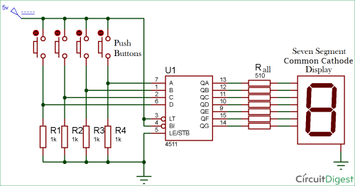small resolution of driving a 7 segment display using a bcd to 7 segment driver ic cd4511 7 segment display schematic diagram 7 segment circuit diagram