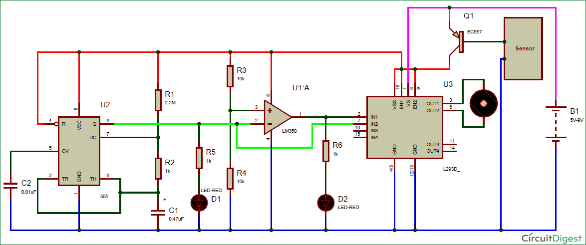 Automatic Rain Sensing Wiper Circuit using 555 Timer IC ...