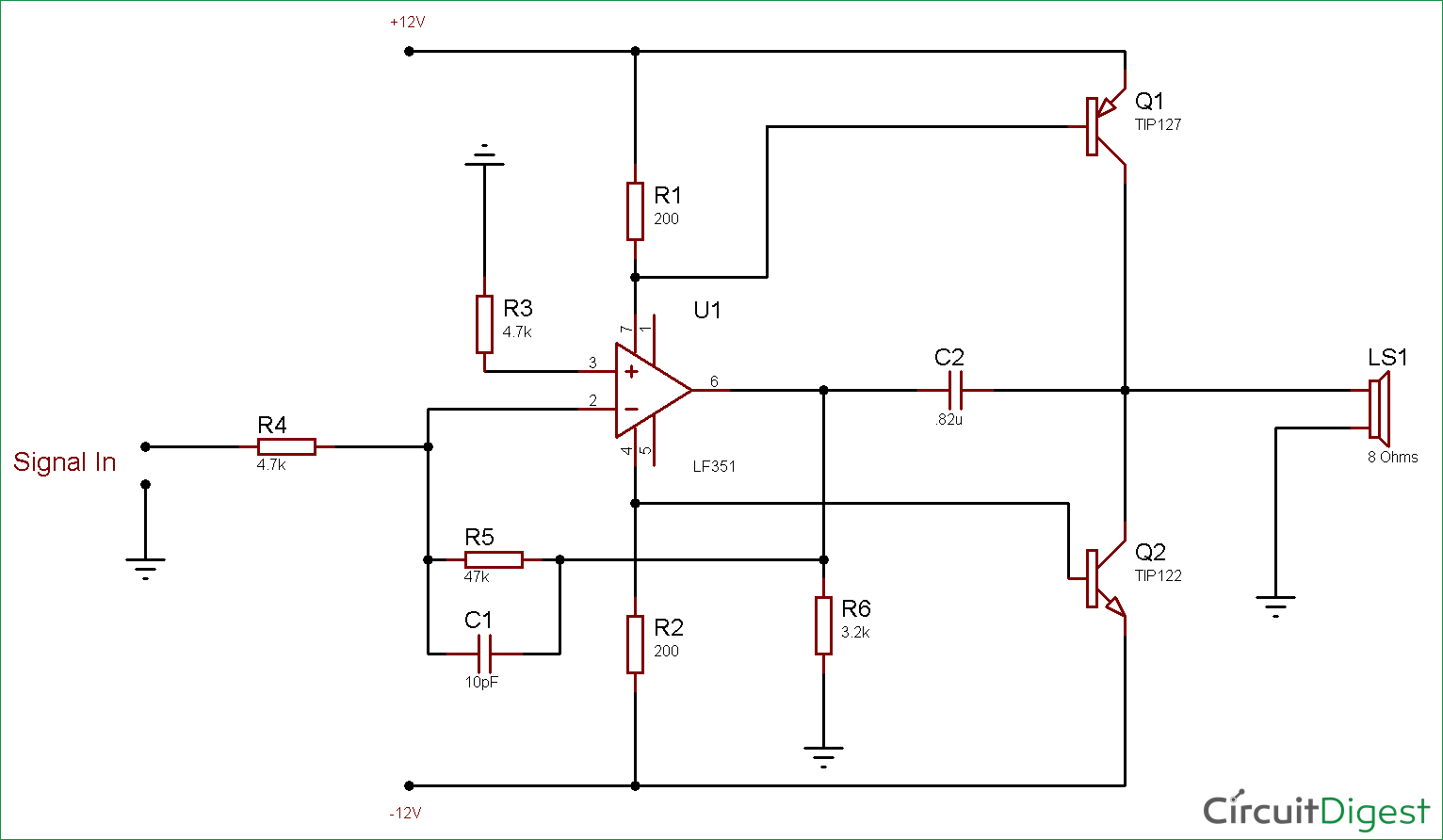 10 Watt Audio Amplifier Circuit Diagram using Op-Amp and
