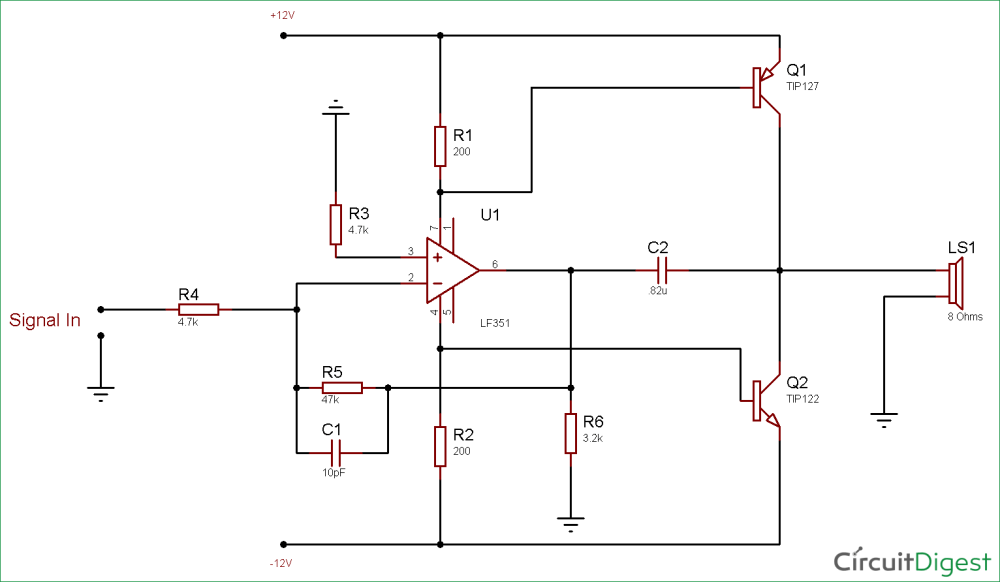 medium resolution of circuit diagram for 10 watt audio amplifier using op amp and power transistors