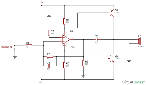 small resolution of circuit diagram for 10 watt audio amplifier using op amp and power transistors