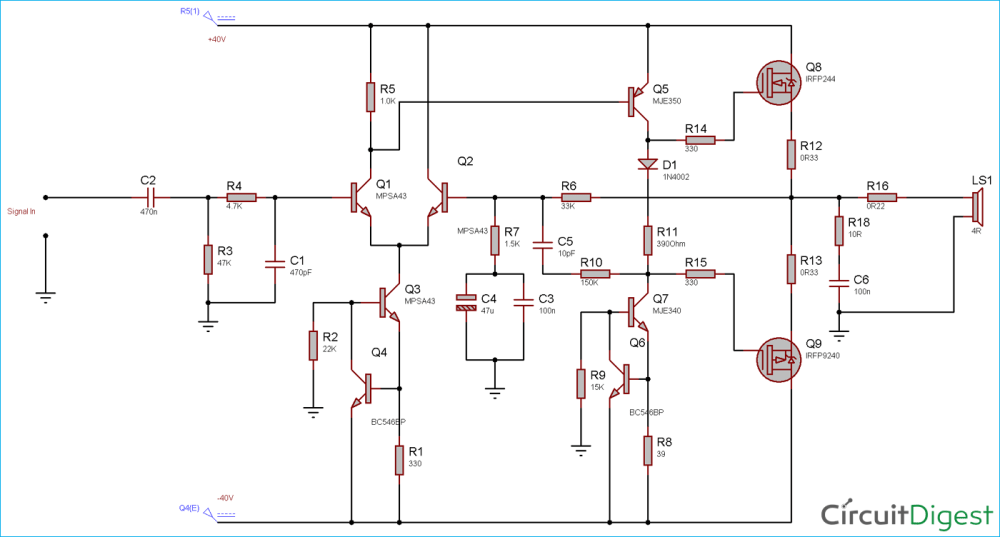 medium resolution of circuit diagram for 100 watt power amplifier circuit using mosfet