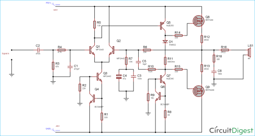 small resolution of circuit diagram for 100 watt power amplifier circuit using mosfet