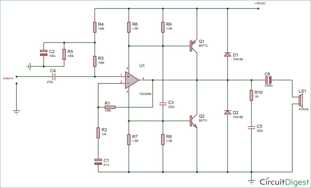 medium resolution of 40 watt audio amplifier circuit diagram using tda2040 and transistor pair