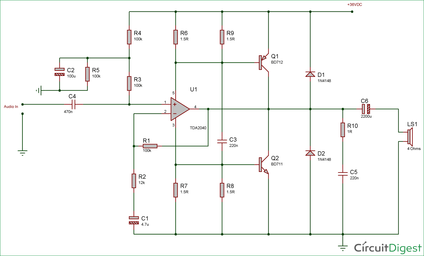 hight resolution of 40 watt audio amplifier circuit diagram using tda2040 and transistor pair