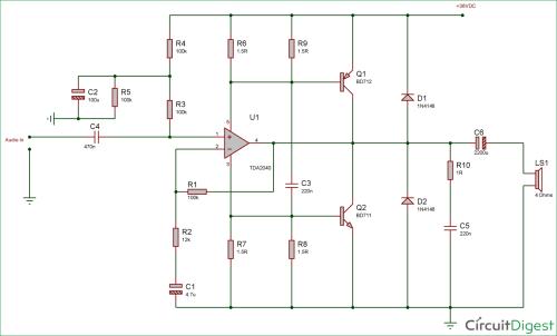 small resolution of 40 watt audio amplifier circuit diagram using tda2040 and transistor pair