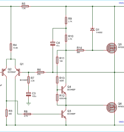 circuit diagram for 50 watt power amplifier using mosfets [ 1500 x 881 Pixel ]