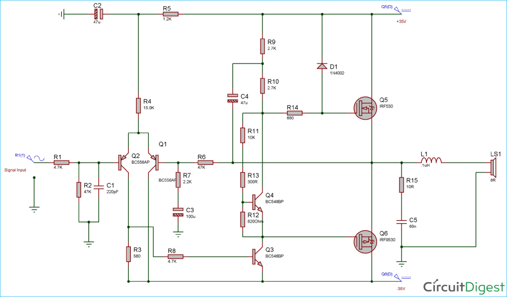 medium resolution of circuit diagram for 50 watt power amplifier using mosfets