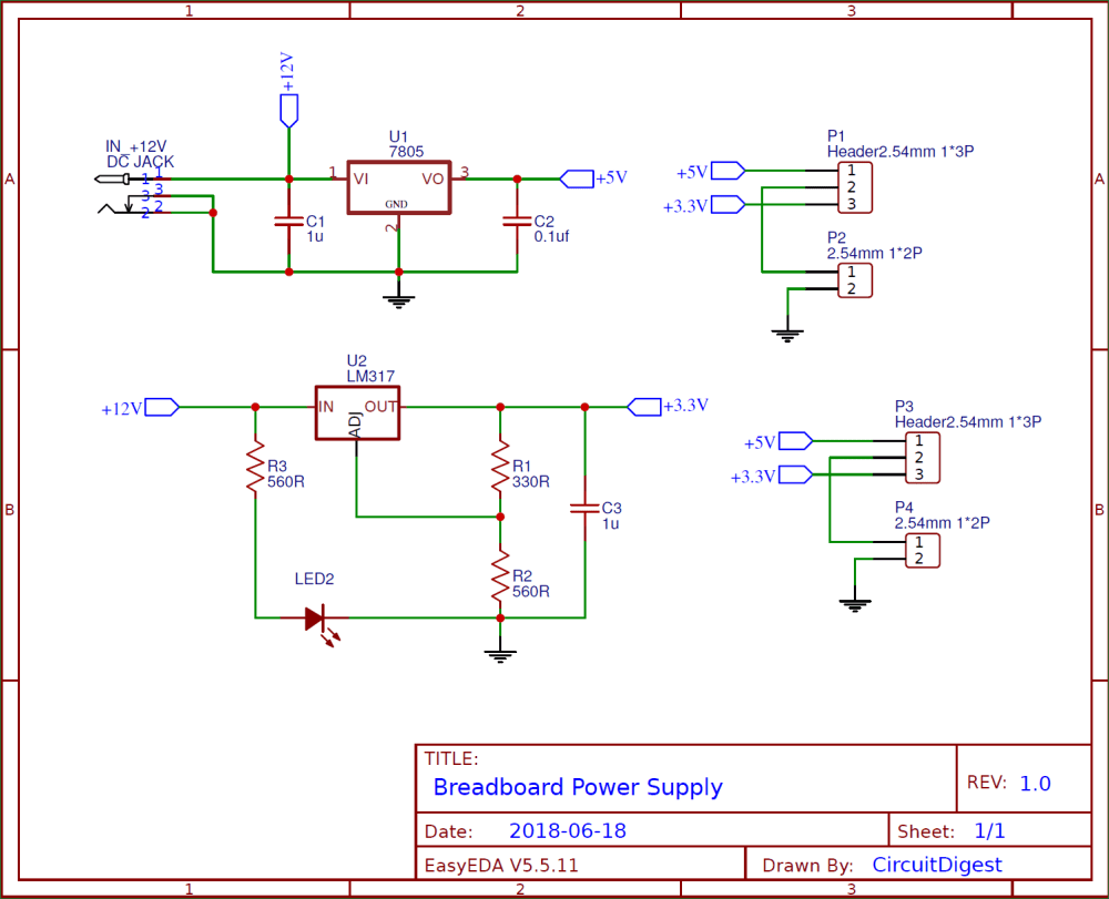 medium resolution of circuit diagram for diy breadboard power supply circuit on pcb