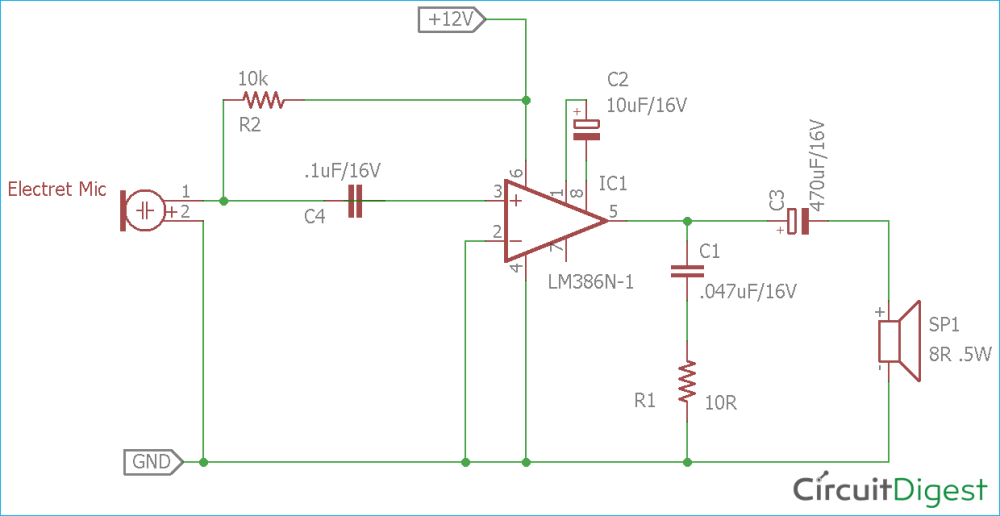 medium resolution of circuit diagram for simple microphone to speaker circuit