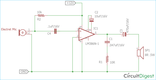 small resolution of simple microphone to speaker amplifier circuit diagram sensitive microphone circuit circuit diagram