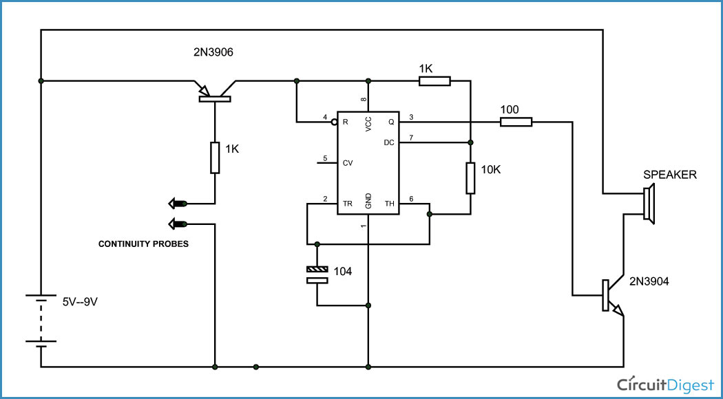 Simple Continuity Testing Circuit Diagram using 555 Timer IC