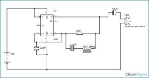 Simple Metal Detector Circuit Diagram using 555 Timer IC