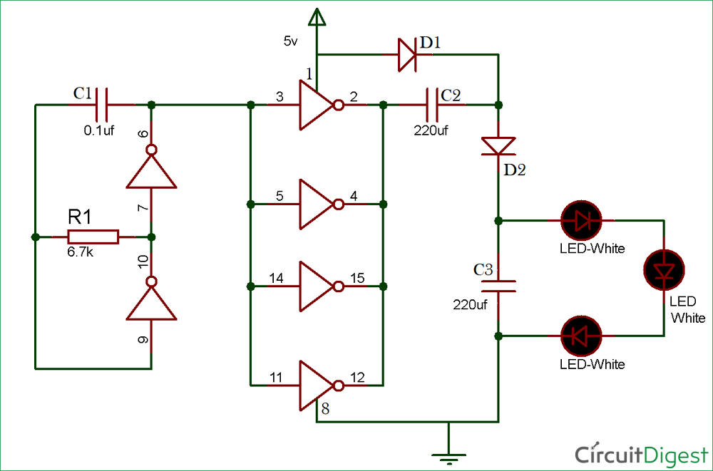 Simple LED Torch Circuit Diagram Using 4049 IC
