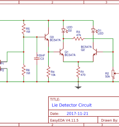 simple lie detector circuit using transistors simple lie detector circuit diagram schematic [ 1600 x 1008 Pixel ]