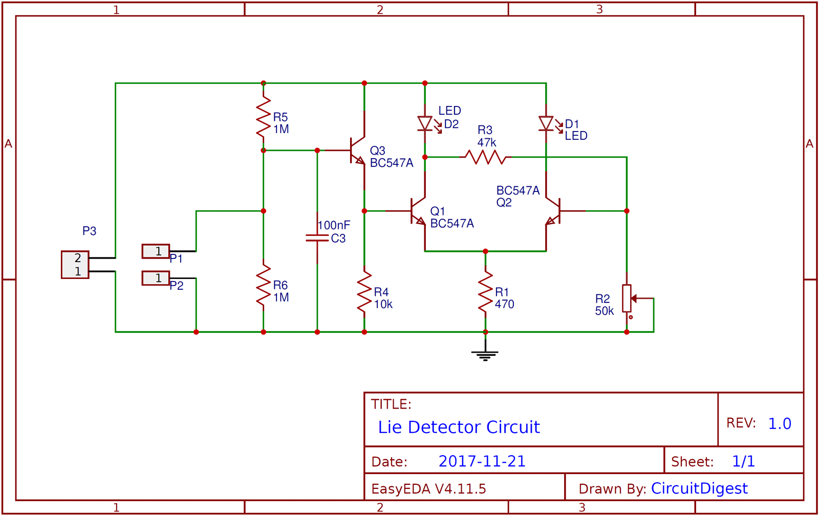 hight resolution of simple lie detector circuit using transistors simple lie detector circuit diagram schematic