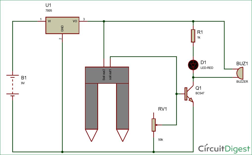 Simple Soil Moisture Sensor/Detector Circuit