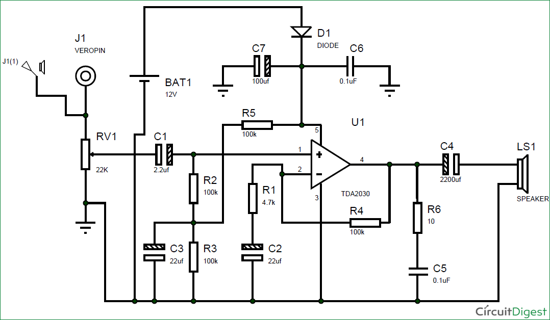 Simple Design With High Bass Home Theater Circuit Diagram