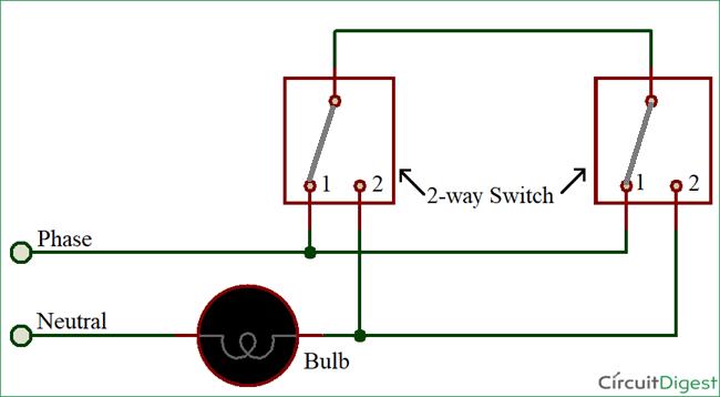 Sơ đồ mạch công tắc đèn 2 chiều sử dụng phương pháp 3 dây