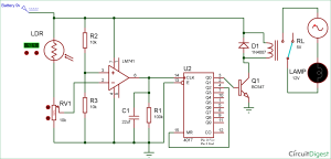 Wireless Switch Circuit using LDR and CD4017