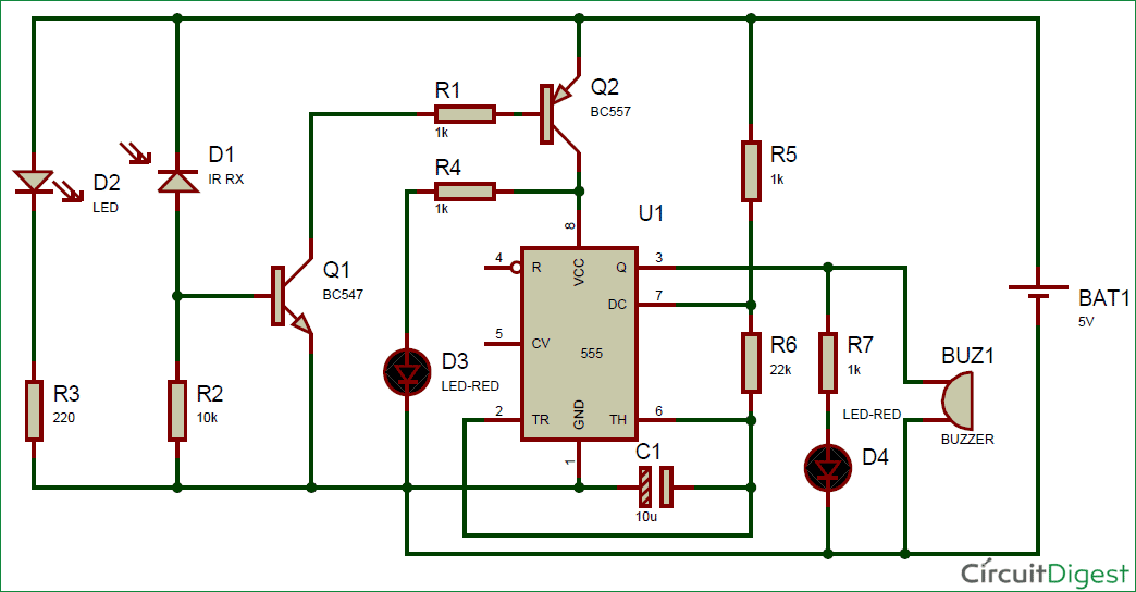 IR Detector Circuit using 555 Timer IC – Technology & Hacking