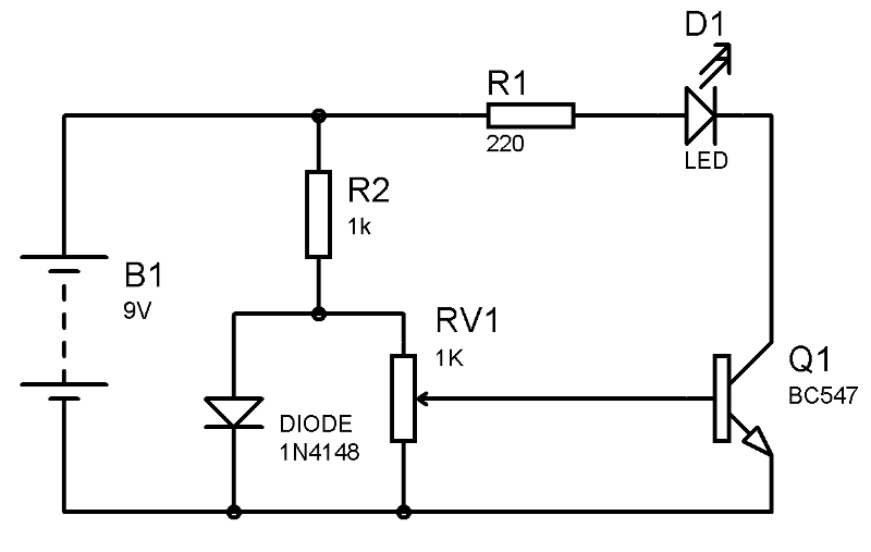 simple heat sensor or temperature sensor circuit diagram