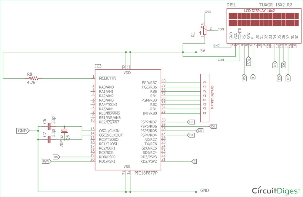 medium resolution of 4x4 matrix keypad interfacing circuit diagram with pic microcontroller