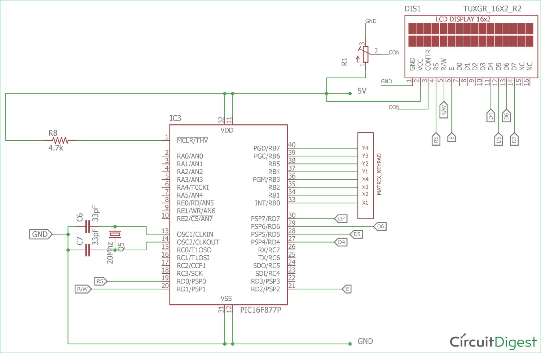 hight resolution of 4x4 matrix keypad interfacing circuit diagram with pic microcontroller